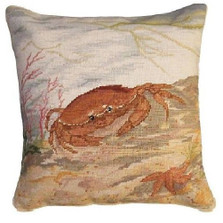 Crab and Starfish Needlepoint Down Pillow | Michaelian Home | MICNCU817