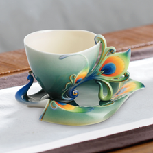 Luminescence Peacock Cup, Saucer Spoon | fz01205 | Franz Porcelain Collection
