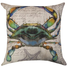 Blue Crab Indoor/Outdoor Throw Pillow | Manual Woodworkers | SLBCB1-2