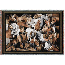 Stampede Horse Tapestry Afghan Throw Blanket | Pure Country | PC1218T