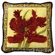 Fire Red Tulip Floral Throw Pillow | Fine Art Tapestries | pc1720P