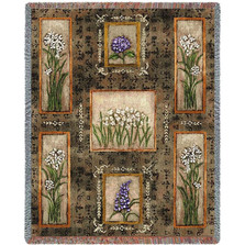 Garden Maze Flower Woven Throw Blanket | Pure Country | pc2166T