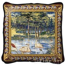 Verdure with Animals Swan Throw Pillow | Fine Art Tapestries | pc2278
