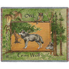 Gray Wolf Woven Throw Blanket | Pure Country | pc2317T