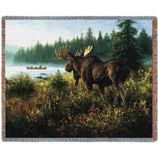 In His Domain Moose Tapestry Afghan Throw Blanket | Pure Country | pc2323T