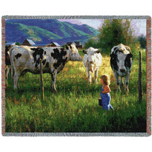 Anniken and the Cows Tapestry Throw Blanket | Pure Country | pc2326T