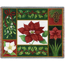 Christmas Flora Poinsettia Tapestry Throw Blanket | Pure Country | pc2444T