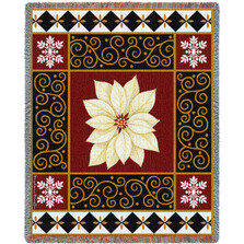 White Poinsettia Tapestry Throw Blanket | Pure Country | pc2450T
