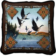 Geese Lodge Woven Throw Pillow | Pure Country | pc3343p