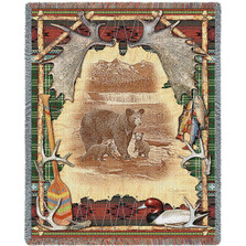 Bear Tapestry Throw Blanket Antler Lodge | Pure Country | pc3893T