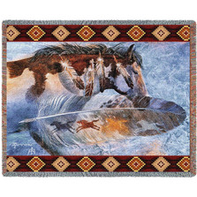 Horse Feathers Tapestry Afghan Throw Blanket | Pure Country | pc4310T