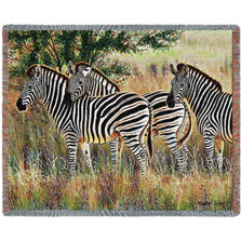 Three Zebra Group Tapestry Afghan Throw Blanket | Pure Country | pc4714T
