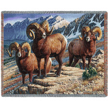 Mountain Monarchs Big Horn Tapestry Throw Blanket | Pure Country | pc4717T