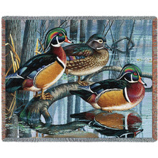 Backwater Woodies Wood Duck Throw Blanket | Pure Country | pc4718T