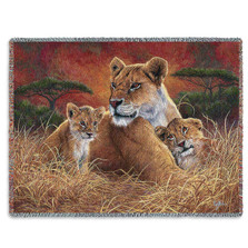 Lion Mother and Cubs Tapestry Throw Blanket Motherly | Pure Country | PC4750T