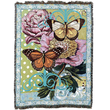 Botanical Coquette Butterfly Tapestry Throw Blanket | Pure Country | pc6096T