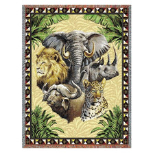 Big Five Wildlife Tapestry Afghan Throw Blanket | Pure Country | pc767T
