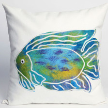 Fish Batik Indoor Outdoor Throw Pillow | Trans Ocean | TOG3124-04
