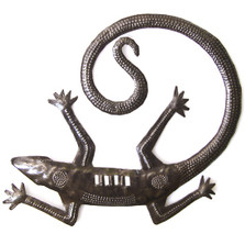 Gecko Recycled Steel Drum Wall Art 12"