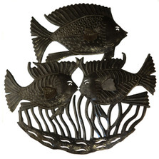 Triple Fish Recycled Steel Drum Wall Art | Le Primitif | LP4017