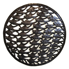 School of Fish Recycled Steel Drum Wall Art | Le Primitif | LP5036