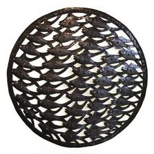 School of Fish Recycled Steel Drum Wall Art   Le Primitif   LP5036