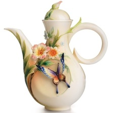 Fluttering Butterfly and Flower Teapot | FZ01840 | Franz Porcelain Collection -2