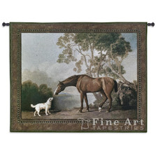 Bay Horse and White Dog Tapestry Wall Hanging | Pure Country | PC3094wh