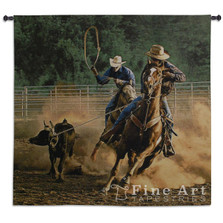 Roping on the Ranch Horse Tapestry Wall Hanging | Pure Country | pc6084wh