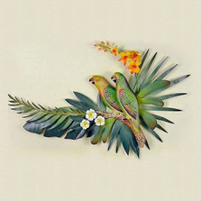 Parrot Pair Wall Sculpture | TI Design | CW253