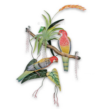 Rosellas On Bromeliads Wall Sculpture | TI Design | CW273