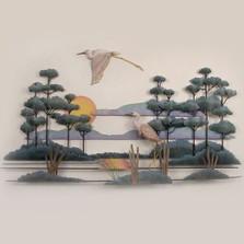 Heron Savannah Wood and Metal Wall Sculpture   TI Design   TICW503