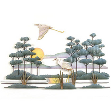 Heron Savannah Wood and Metal Wall Sculpture | TI Design | CW503