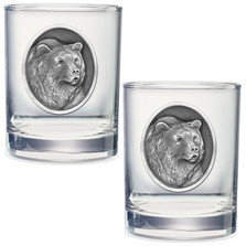 Grizzly Bear Double Old Fashioned Glass Set of 2 | Heritage Pewter | HPIDOF201