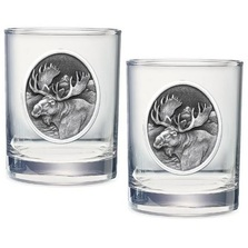 Moose Double Old Fashioned Glass Set of 2 | Heritage Pewter | HPIDOF204