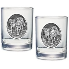 Wolf Double Old Fashioned Glass Set of 2 | Heritage Pewter | HPIDOF205