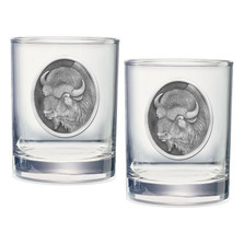 Buffalo Double Old Fashioned Glass Set of 2 | Heritage Pewter | HPIDOF206