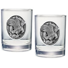 Eagle Double Old Fashioned Glass Set of 2 | Heritage Pewter | HPIDOF215
