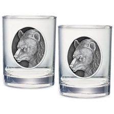 Black Bear Double Old Fashioned Glass Set of 2 | Heritage Pewter | HPIDOF218