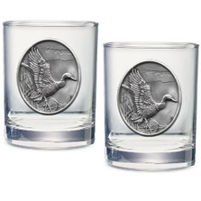 Mallard Double Old Fashioned Glass Set of 2 | Heritage Pewter | HPIDOF223