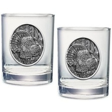 Turkey Double Old Fashioned Glass Set of 2 | Heritage Pewter | HPIDOF225
