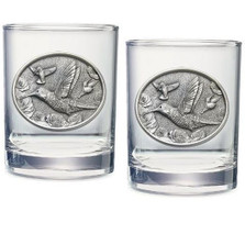 Hummingbird Double Old Fashioned Glass Set of 2 | Heritage Pewter | HPIDOF234