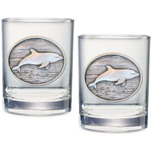 Dolphin Double Old Fashioned Glass Set of 2 | Heritage Pewter | HPIDOF235