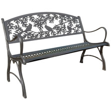 Cardinal Cast Iron Garden Bench | Painted Sky | PSPB-CAR-100BR