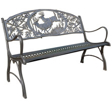 Deer Cast Iron Garden Bench | Painted Sky | PSPB-IBK-100BR