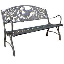 Deer Cast Iron Garden Bench | Painted Sky | PSPB-IBK-100BR