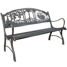 Elk Cast Iron Garden Bench | Painted Sky | PSPB-IEK-100BR