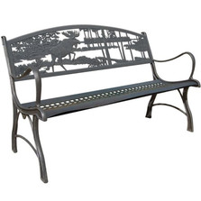 Moose and Bear Cast Iron Garden Bench | Painted Sky | PSPB-IMB-100BR