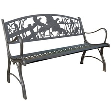 Pheasant Cast Iron Garden Bench | Painted Sky | PSPB-IPH-100BR