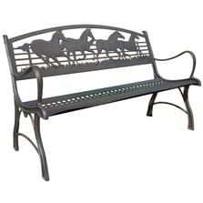 Running Horse Cast Iron Garden Bench | Painted Sky | PSPB-IRH-100BR
